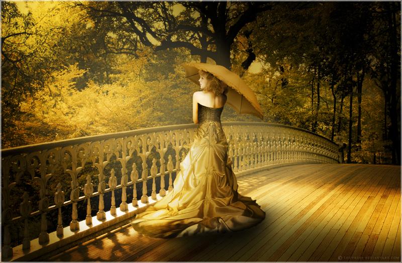 梦幻美女打伞图片